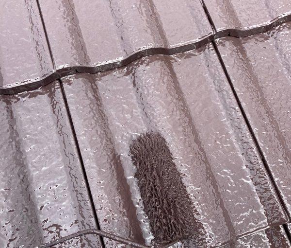 群馬県前橋市 K様邸 外壁リフォーム 屋根塗装 中塗り・上塗り ガイソー ルーフガードフッ素 (1)