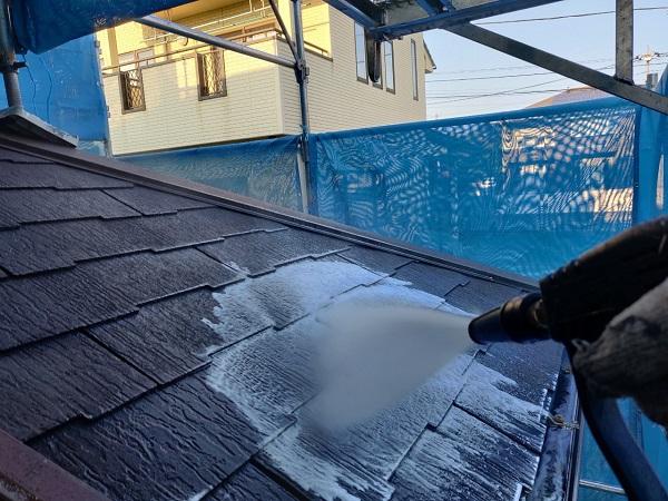 群馬県前橋市 N様邸 外壁塗装 屋根塗装 足場設置 飛散防止ネット 高圧洗浄1 (1)