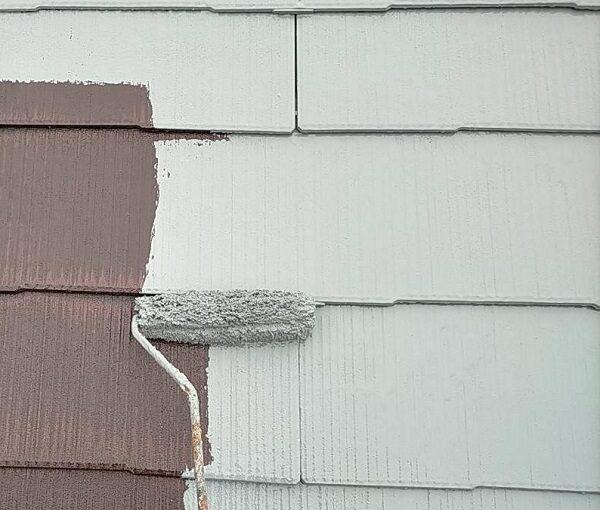 群馬県佐波郡玉村町 K様邸 屋根塗装 基礎補修 中塗り・上塗り ガイソールーフガードネオSi (2)