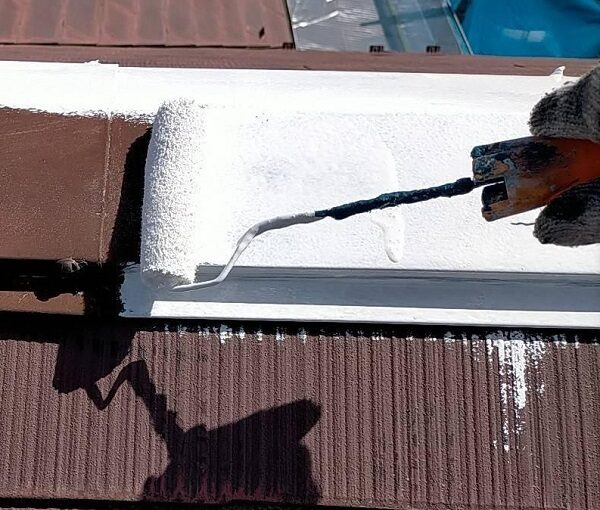 群馬県佐波郡玉村町 K様邸 屋根塗装 基礎補修 ビス頭コーキング 棟板金錆び止め (5)