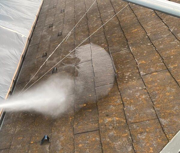 群馬県邑楽郡 アパート 屋根塗装・外壁塗装・付帯部塗装 バイオ洗浄 水養生 (6)
