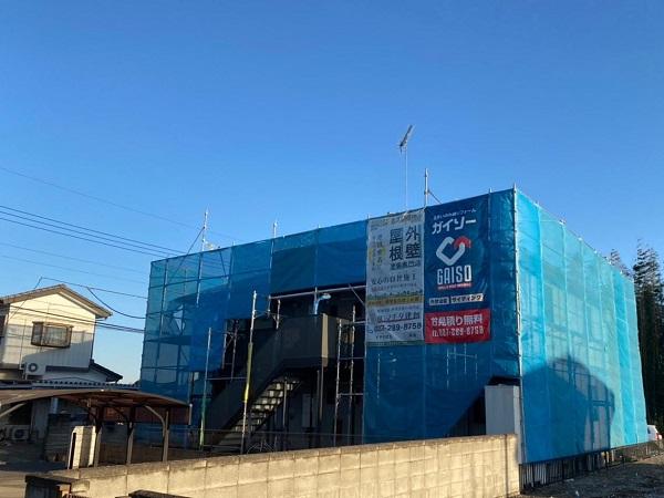 群馬県邑楽郡 アパート 屋根塗装・外壁塗装・付帯部塗装 バイオ洗浄 水養生 (4)