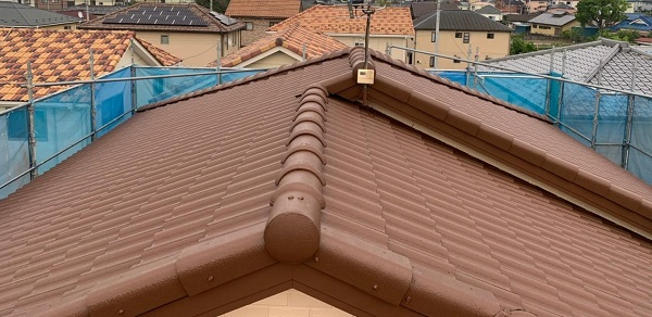 群馬県桐生市 I様邸 屋根塗装・外壁塗装 棟瓦の釘補強 ガイソールーフガードシリコン シーラーセメント (7)
